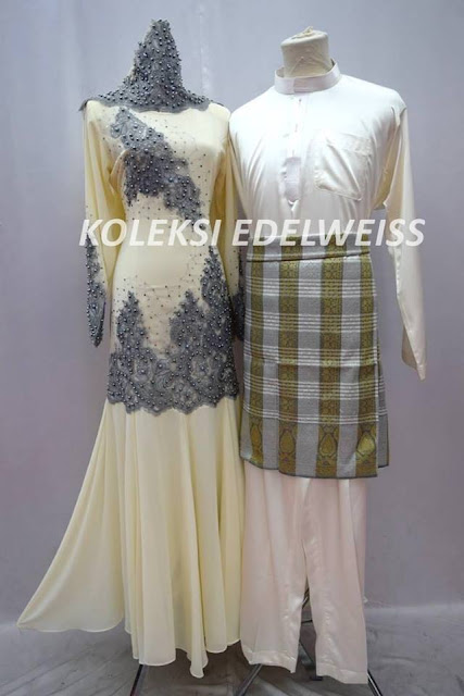 Set BAju Dress Nikah Cream Kelabu Grey Sedondon Muslimah  2016