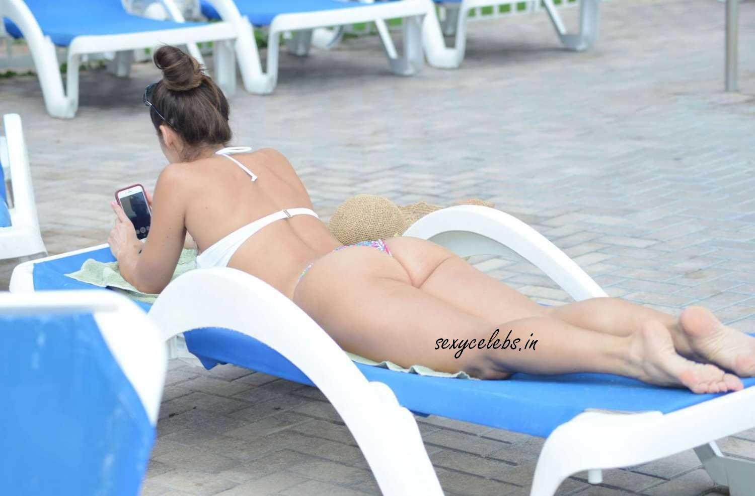 Anais Zanotti in White Tiny Bikini Huge Boobs Exposed Lovely Beautiful Huge Ass Butt Cleavages wow