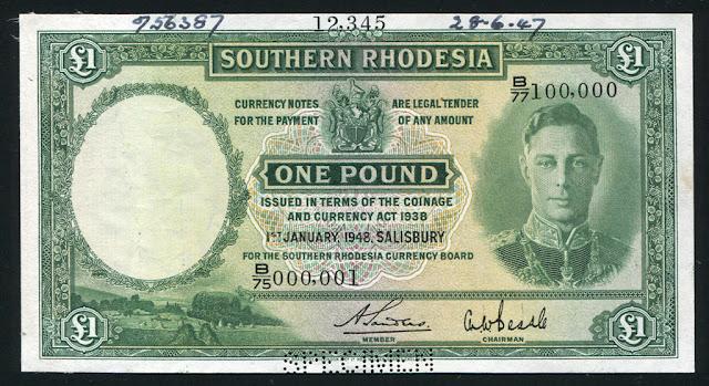 Rhodesia banknotes Pound