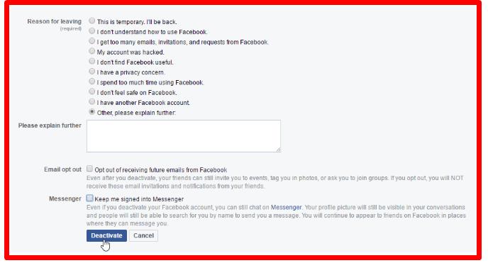 can you temporarily close facebook