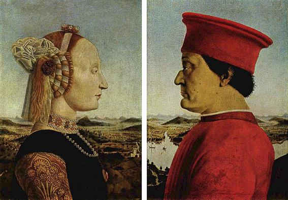 Los duques de Urbino. Galeria Uffizi