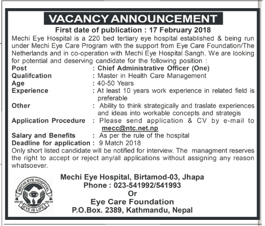 vacancy for mhcm