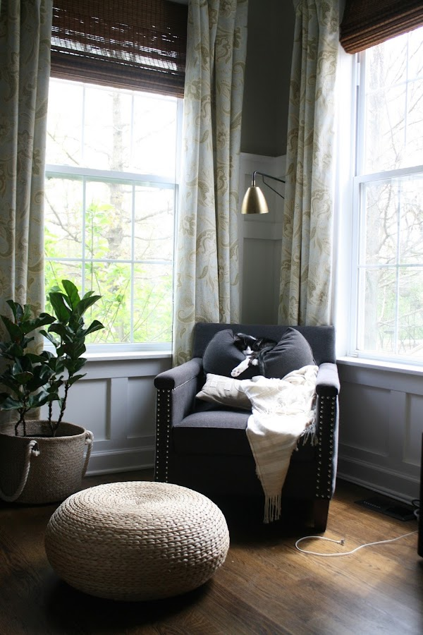 Chair in corner with windows