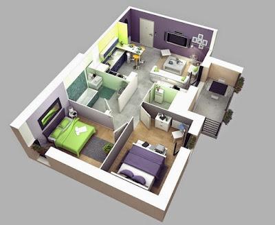 Gambar Desain Interior Rumah Tipe 36 Luas Lahan 60 Modern Kamar Mandi Luar