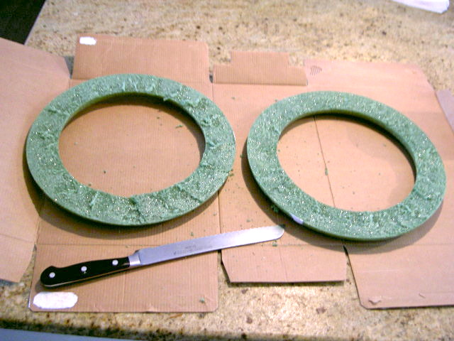 cut a foam wreath form in half to make 2 wreaths