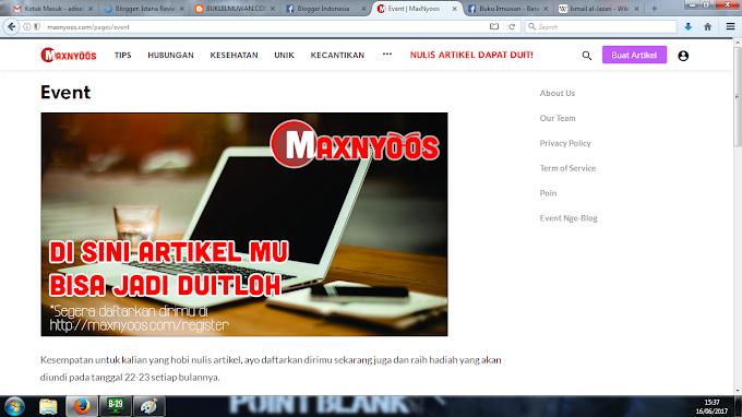 Mau dapat uang jutaan Rupiah? Ayo ikuti Event MaxNyoos.com!