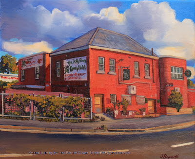 "plein air oil painting of the ""Jolly Frog"" in Windsor by artist Jane Bennett"