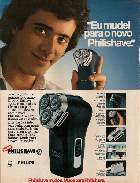 Propaganda dos anos 70 para promoção do Barbeador Philishave (Philips). O ator Tony Ramos foi o protagonista da campanha.