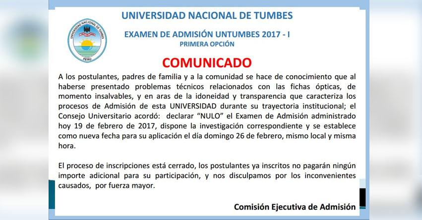 Resultados UNTUMBES 2017-1 (Examen Domingo 19 Febrero) Ingresantes Primera Opción Universidad Nacional de Tumbes - www.untumbes.edu.pe