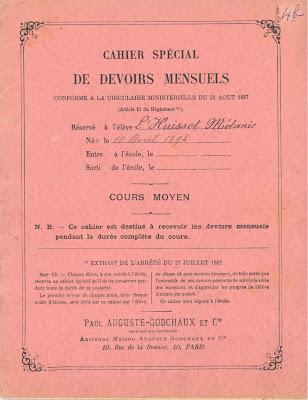 Première de couverture d'un cahier de devoirs mensuels, 1894 (collection musée)