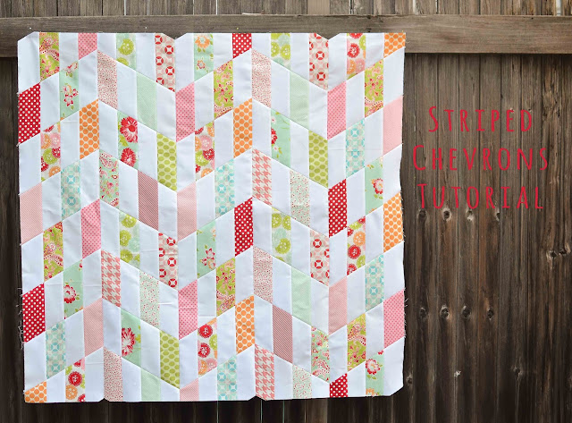 Striped Chevrons quilt tutorial from Kitchen Table Quilting