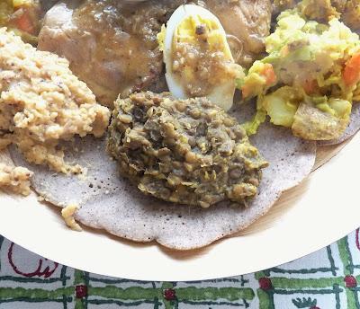 Stewed Lentils as part of an Ethiopian feast