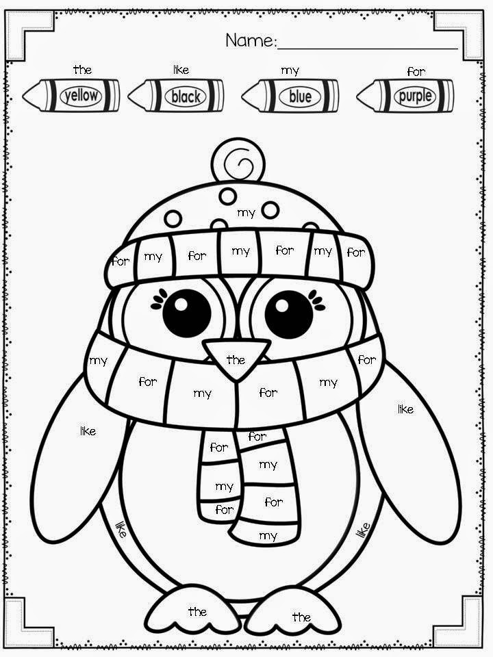 Winter Coloring Pages 1st Grade Sight Words Coloring Pages