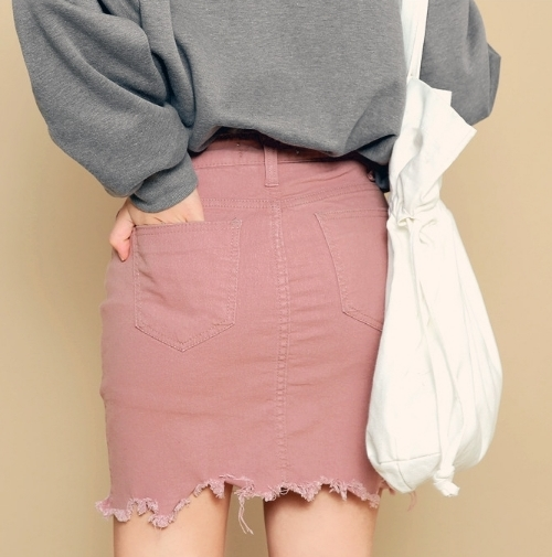 Torn Hem Thigh Length Skirt