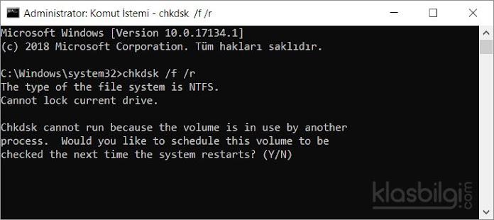 Dosya sistemi ve Disk hatalarını otomatik düzeltin