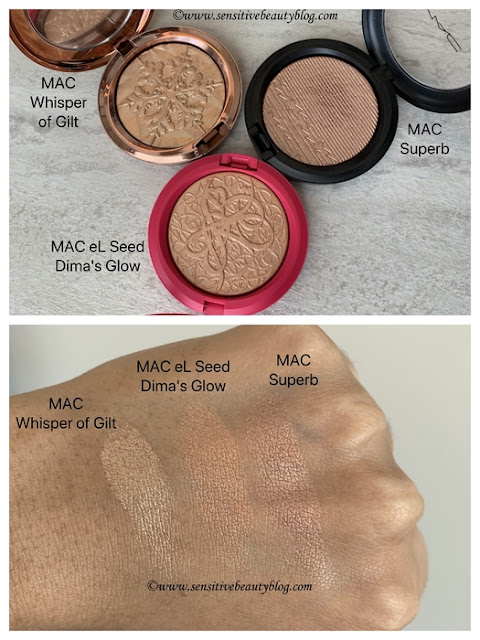 MAC eL Seed Dima's Glow Extra Dimension Skinfinish swatches dark skin with whisper of gilt superb comparison