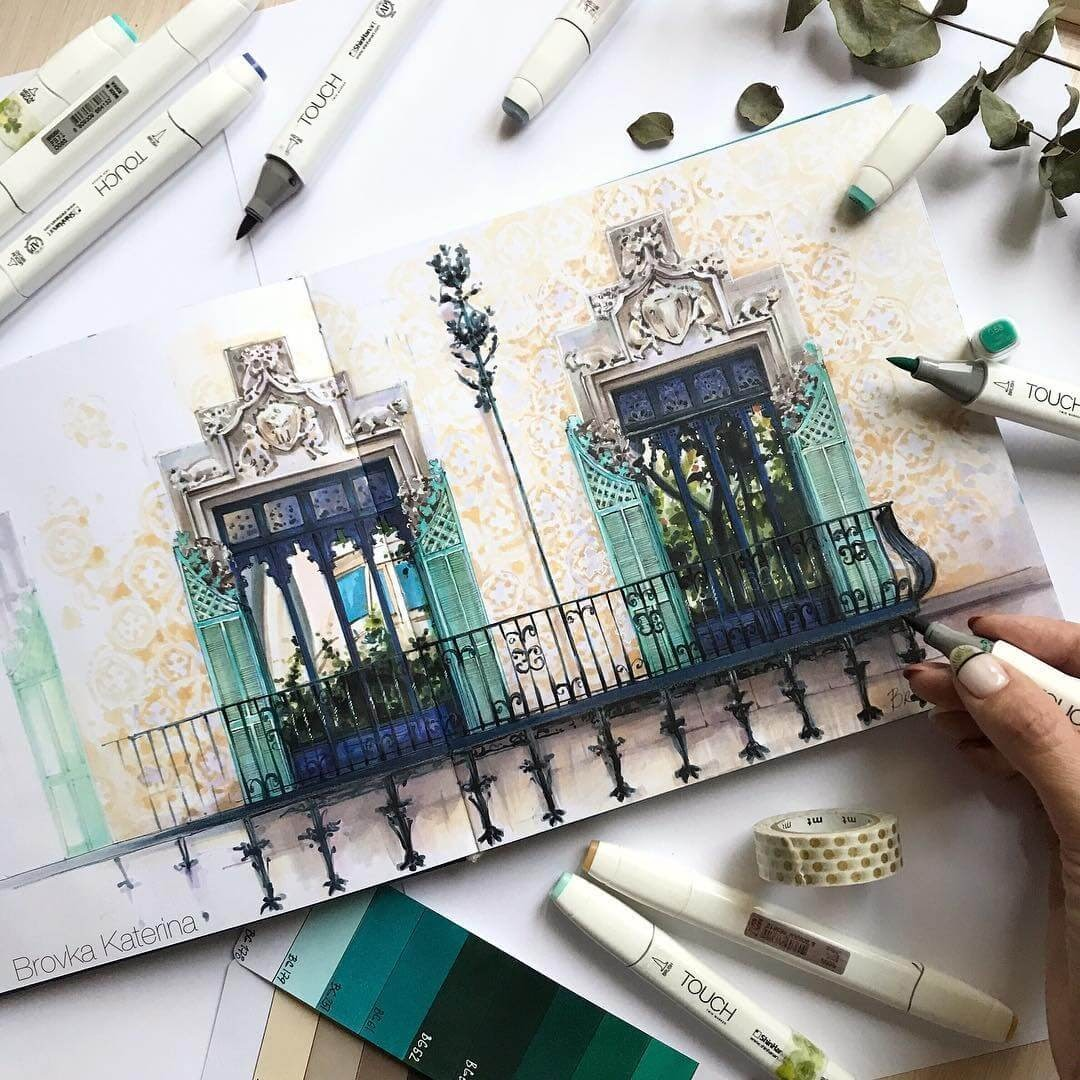 11-Elegant-and-Decorative-Windows-and-Balcony-Katerina-Brovka-Architecture-in-Bright-Color-Drawings-www-designstack-co