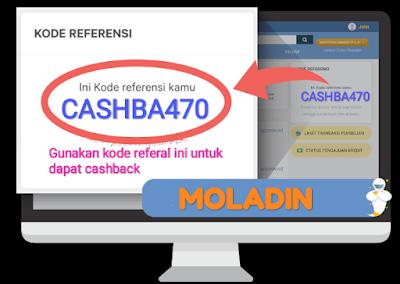 Kredit Motor Online Moladin kode CASHBA470