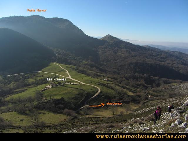 Ruta de las Foces del Rio Pendón y Varallonga: Desde el pico Varallonga, bajando a Les Praeres