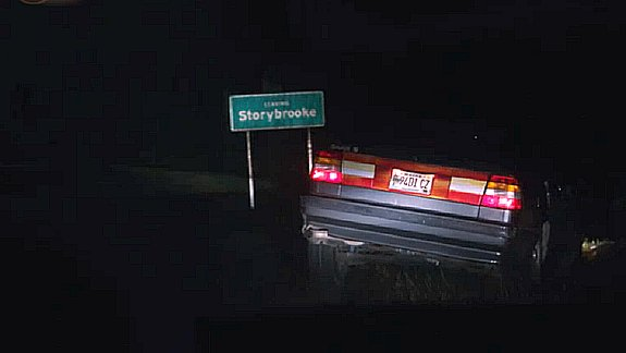 "Once Upon a Time - Car wrecked near the ""Leaving Storybrooke"" sign"