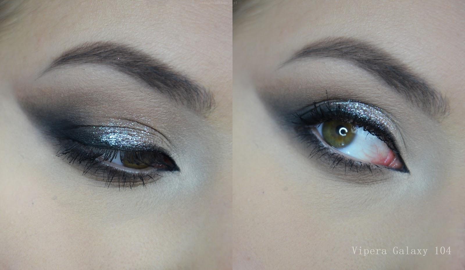pigment vipera galaxy 104 swatch, makijaż, zdjęcie realne