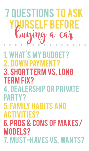 These 7 questions were so helpful to ask ourselves when we were getting ready to buy our car!  Plus there are some other awesome tips for saving money on your purchase!
