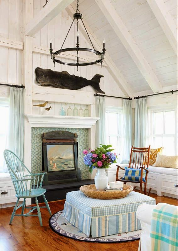 Nautical New England Style Living Room Decor Ideas