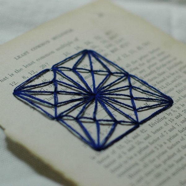 blue geometric embroidered book page design