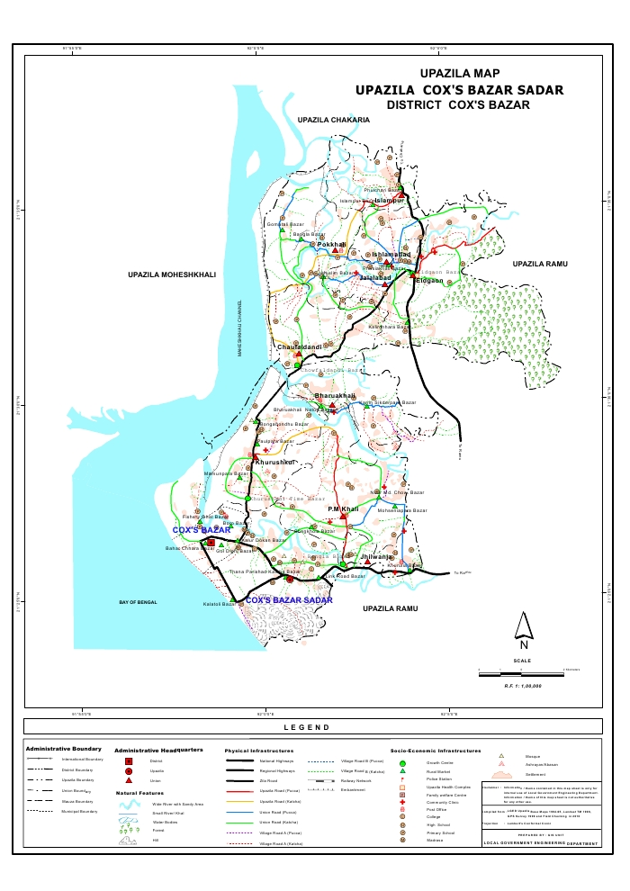 Cox's Bazar Sadar Upazila Map Cox's Bazar District Bangladesh