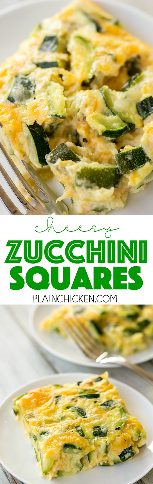 Cheesy Zucchini Squares - DELICIOUS side dish or breakfast casserole! Perfect way to use up all that yummy summer squash! Zucchini, flour, baking powder, milk, eggs, green chiles and Monterey Jack cheese. We served this as a side dish with our grilled meats and had the leftovers for breakfast! SO YUMMY! Everyone raves about this simple side dish recipe!