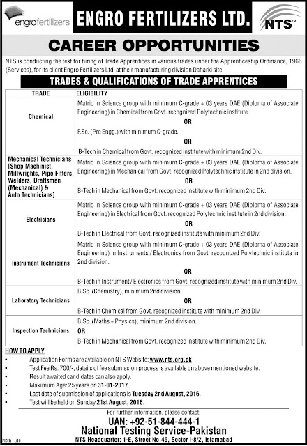 Engro Fertilizer Jobs in Pakistan as Trade Internship Program 2016