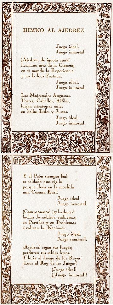 Himno al Ajedrez, compuesto por Ernesto Jaumandreu Opisso