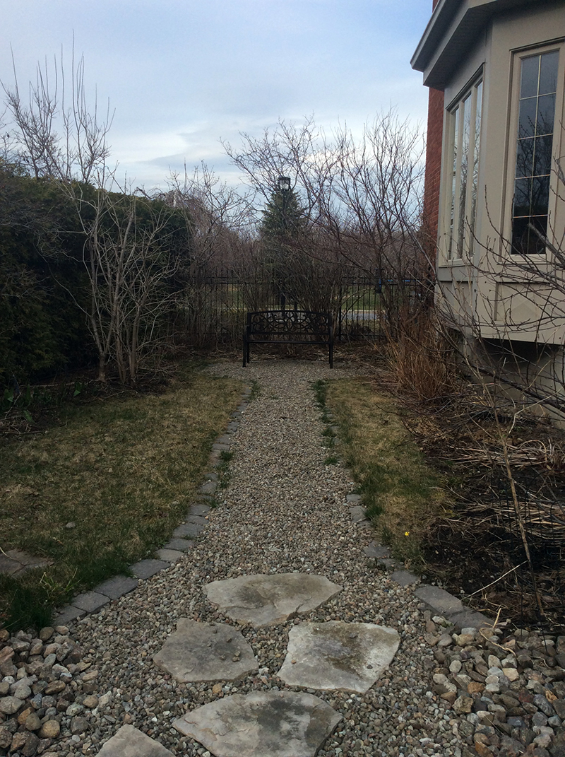 Pathway and perennial garden in early spring