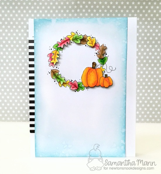 Fall wreath with pumpkins | Card by Samantha Mann | Fall-ing For You Stamp set by Newton's Nook Designs #newtonsnook #pumpkinspice