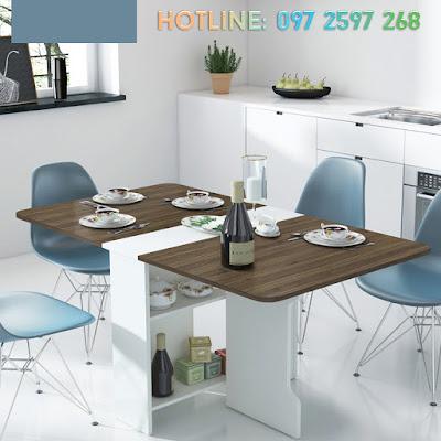 Phòng ăn vô cùng ấn tượng với mẫu bàn ghế ăn màu nâu trắng