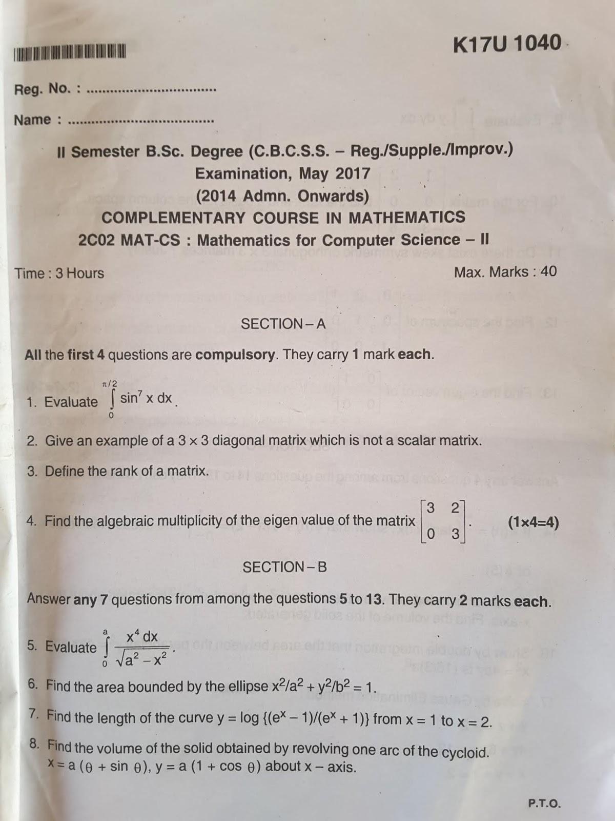 Computer science: 2nd Sem MATHS