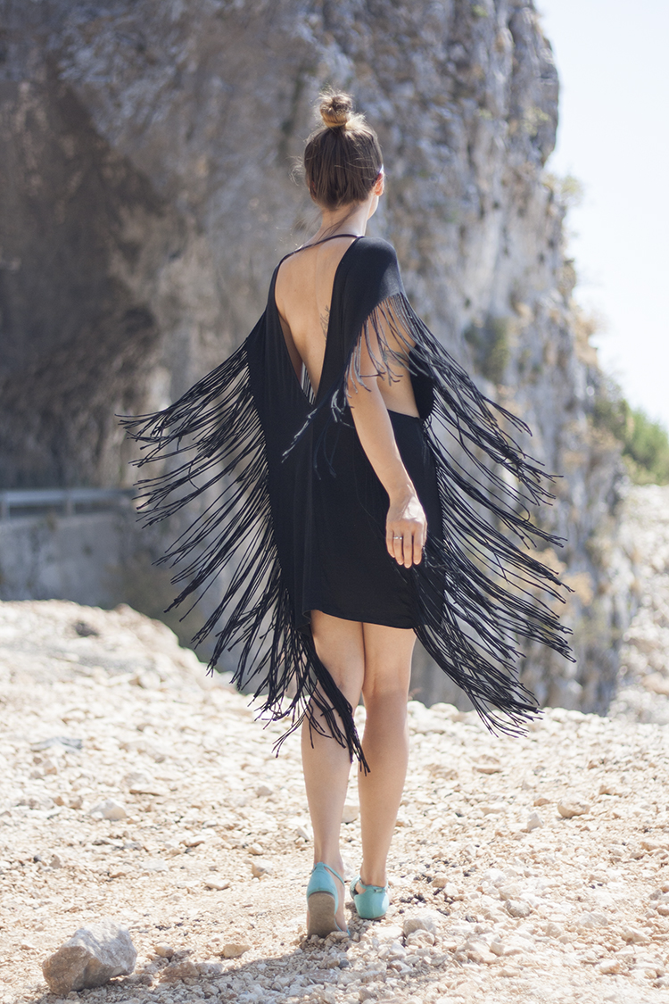 Skinny Buddha Montenegro vacation black fringe dress