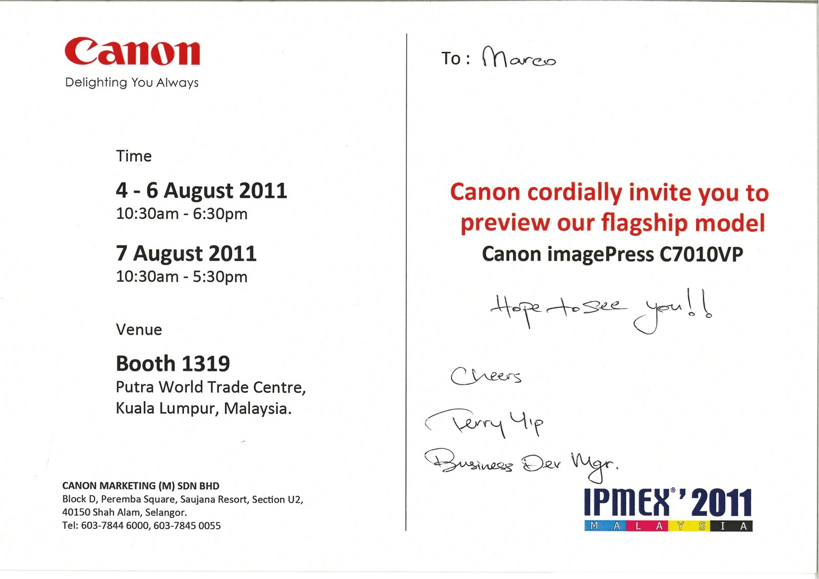 Ipmex 2011 invitation from canon marketing malaysia sdn bhd large large format printers industrial ink jet printers reviews stopboris Image collections