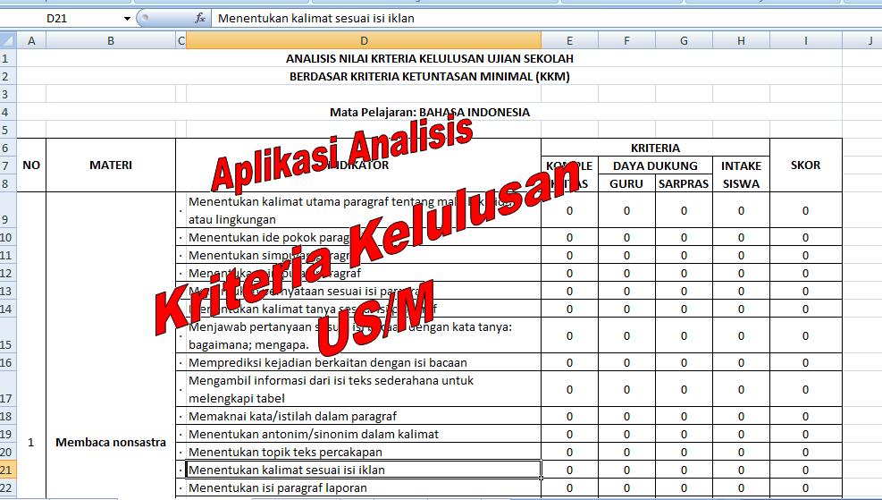 Download Aplikasi Excel Analisis Kelulusan Siswa Us M 2016