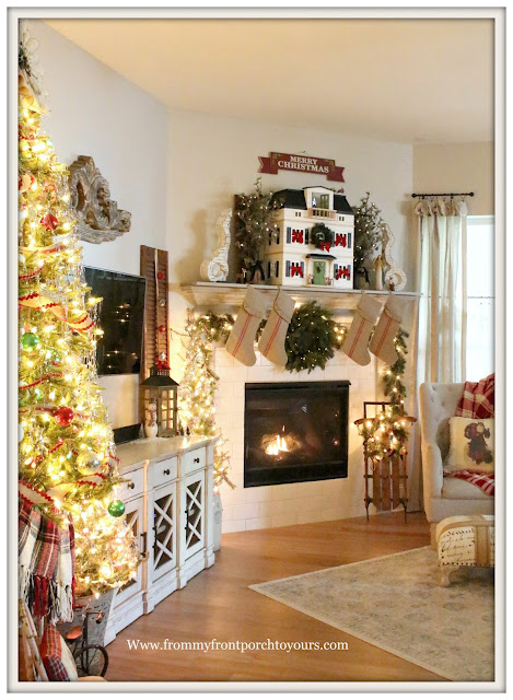 French Country Farmhouse-Living Room- Christmas Mantel-Hearth & Hand- Doll House-From My Front Porch To Yours