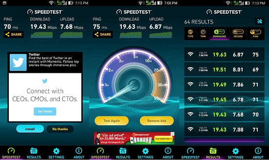 BSNL Wi-Fi Hot Spot Speed Test Results