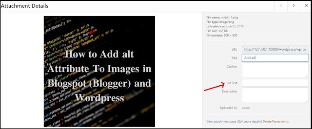 Adding alt tag to Wordpress