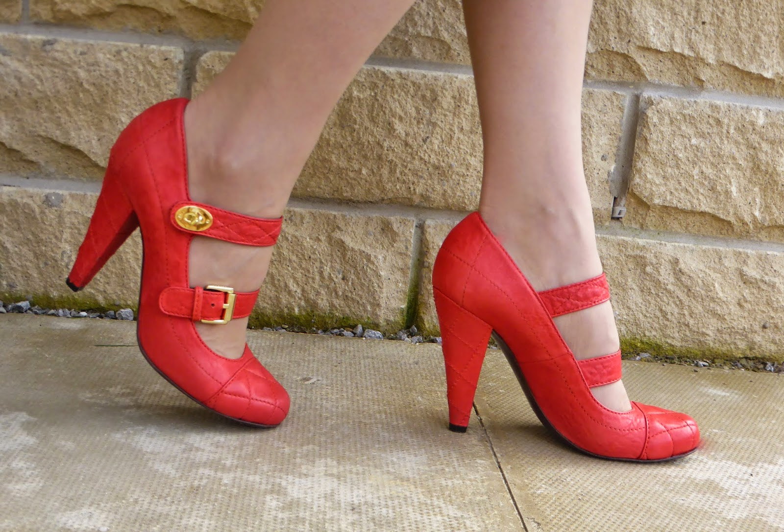 Orange quilted Mulberry shoes with Postman's lock and straps
