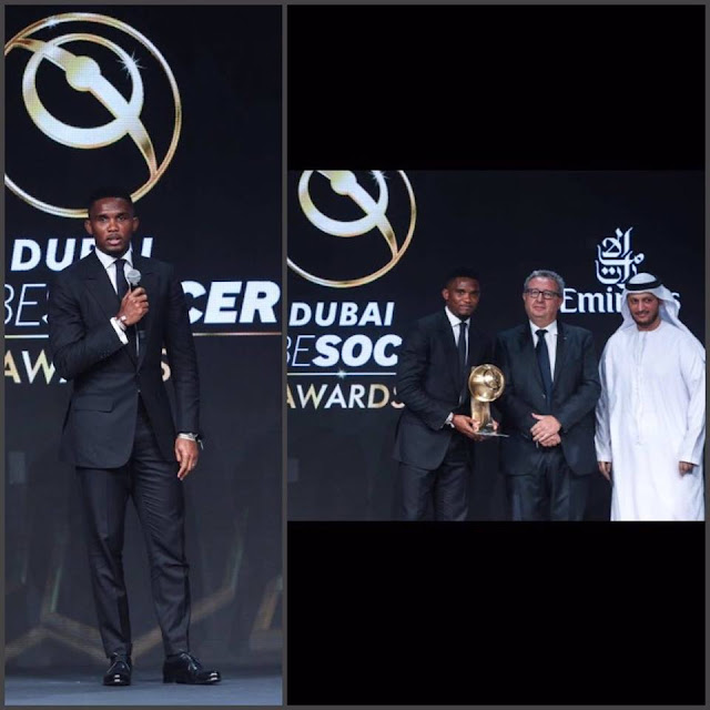 Cameroonian professional footballer, Samuel Eto'o, honored with the Player Career Award at the Global Soccer Awards in Dubai.