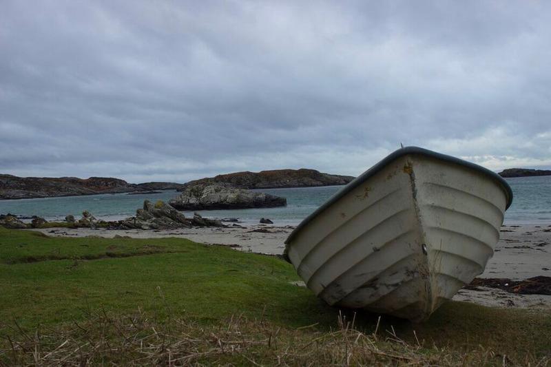 boat uisken beach isle of mull island scotland coast