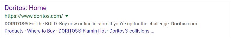Doritos.com search listing