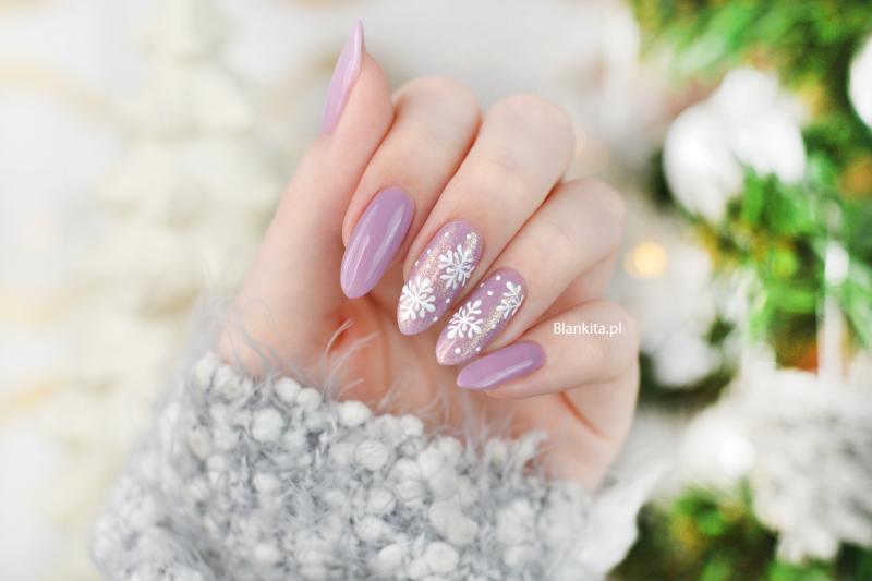 platki sniegu, snieg na paznokciach, reczne zdobienie, reczne platki sniegu, semi art, snowflakes nail