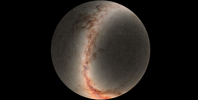 This image is a mosaic of sky photographs taken by the Pan-STARRS Observatory, a 1.8-meter telescope located at the summit of Haleakalā, on Maui. The center of the circle is the north celestial pole, and the outer edge is a sky declination of -30 degrees, which is where the Pan-STARRS survey stopped (because it reached the southern horizon as seen in Hawai'i). Credit: R. White (STScI) and the PS1 Science Consortium
