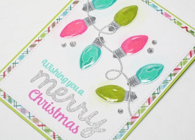 Sunny Studio Stamps: Merry Sentiments Holiday Lights Christmas Card by Stephanie Klauck.