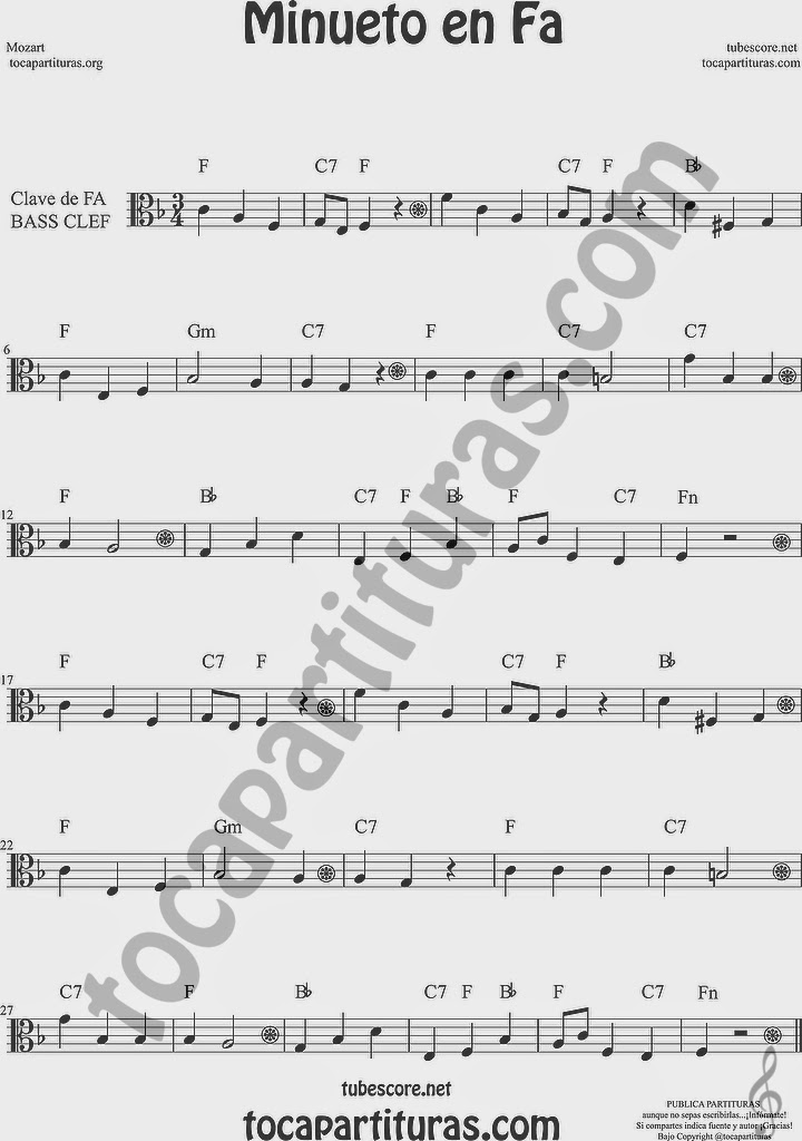 Minueto en Fa Partitura de Violonchelo y Fagot Sheet Music for Cello and Bassoon Music Scores